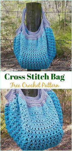 Cross Stitch Bag Free Crochet Pattern - #Crochet #Handbag Free Patterns