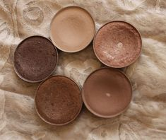 Clockwise from Top - Brulé, All That Glitters, Wedge, Woodwinked and Satin Taupe