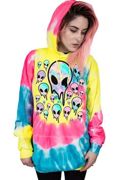 MELTING ALIENS - HIGHLIGHTER HOODIE
