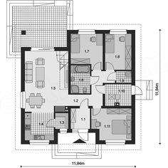 Projekt domu Tanis 98,96 m2 - koszt budowy 205 tys. zł - EXTRADOM Architectural House Plans, Floor Plans, House Design, How To Plan, Arquitetura, Home Plans, Plants, Floor Layout, House