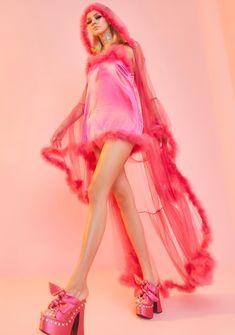 Sugar Thrillz Sheer Feathered Robe - Fuschia Pink | Dolls Kill Stockings Lingerie, Lace Lingerie Set, Keri Cruz, Fishnet Bodystocking, Fishnet Dress, Lace Babydoll, Tube Dress, Kawaii Fashion, Mini Skirts