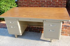Vintage Industrial Metal Tanker desk Steel Oversized - i like that there's an inset so someone could almost sit on the other side of this one
