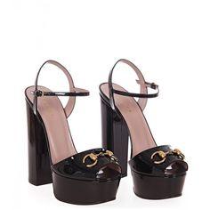 Gucci Black Patent Leather Platform Sandals