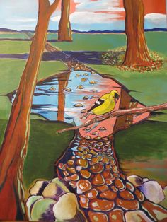 Goldfinch Trail painting by SG Criswell (sold to CY)