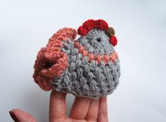 Couple of handmade crochet Chickens. Great Easter or Spring home decor. Funny and cute.