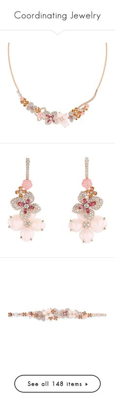 """Coordinating Jewelry"" by thesassystewart on Polyvore featuring jewelry, necklaces, diamond jewellery, pink diamond necklace, floral necklace, round diamond necklace, diamond necklace, earrings, pink gold jewelry and pink gold earrings"