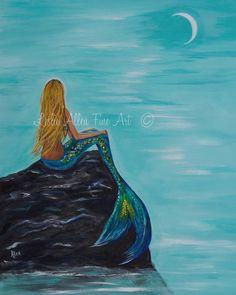 """Mermaid Art Print Mermaid Painting Print Mermaid Wall Art Ocean Fantasy Art Print Seascape """"Mermaids Crescent Moon"""" Leslie Allen Fine Art"""