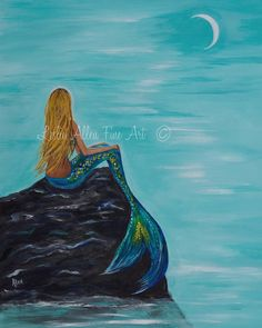 Beautiful Enchanted Mermaid sitting on a rock watching the tides roll in ♥  8 x 10 Professional Print Of Original Acrylic  Artist Leslie Allen
