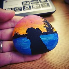 Painted rock / rock painting / rock art / painted stones / dogs / sunset