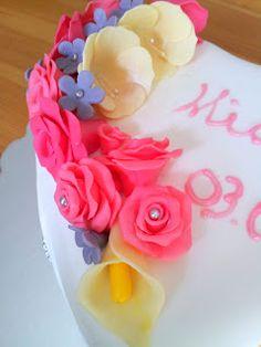 christening cake - chocolate fondant roses