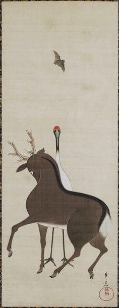 Deer, Crane and Bat, 19th century Suzuki Kiitsu. Japanese hanging scroll. Ink and color on silk. MIA.