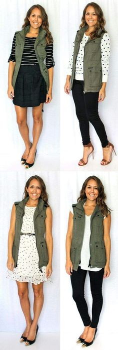 how to style an olive utility vest for the office