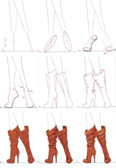 A step by step tutorial on how to draw boots.