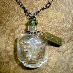 10 Mini French Perfume Bottles With Corks , Tiny Glass Vials. Miniature, Potion, Vials. DIY Pendant.. $10.00, via Etsy.