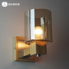 89.79$  Watch now - http://alijlf.worldwells.pw/go.php?t=32752237819 - Modern Minimalist Garden Glass Wall Lamp Bedroom Wooden Mirror Lamp Led Bedside Lamp Amber Glass Lamp