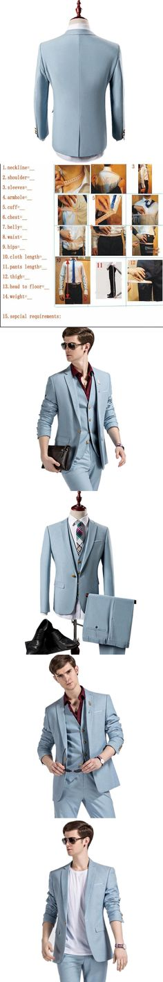 Men's suits, Jacket+Vest+Pants Men Wedding Suit three-Pieces Slim Fit Mens Dress Suits Latest Designs Light Blue custom