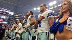 All Cowboys Stood During the National Anthem | NBC 5 Dallas-Fort Worth  -    Members of the Dallas Cowboys stand for the National Anthem before their game against the NY Giants on September 11, 2016.