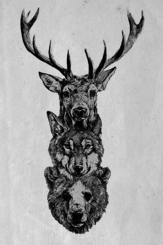 How sick of a back piece would this be?!  I totally want it.  deer wolf bear antlers tattoo animal tatto