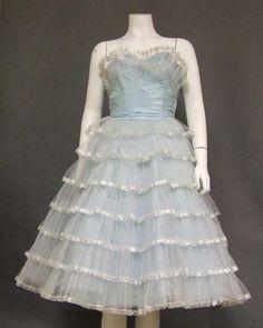 Terrific Powder Blue Tiered Tulle Vintage Prom Dress w/ Silver Trim VINTAGEOUS VINTAGE CLOTHING