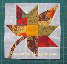 Patchwork geometry: Bright autumn leaf tutorial ~I love this block! Fall Quilts, Scrappy Quilts, Patchwork Quilting, Mini Quilts, Star Quilt Blocks, Quilt Block Patterns, Pattern Blocks, Block Quilt, Quilting Tutorials