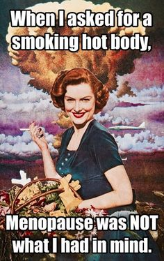 When I asked for a smoking hot body, menopause was not what I had in mind. When I asked for a smoking hot body, menopause was not what I had in mind. Vintage Humor, Retro Humor, Retro Funny, Vintage Comics, Vintage Cards, Lol, Haha Funny, Funny Stuff, Funny Life