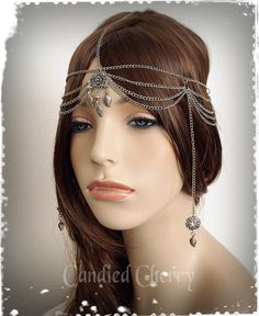 "Silver Chain Forehead Cross Arabian Headpiece-Greek Goddess Head Chain-Grecian Head Band-Bohemian Wedding Headpiece--""Princess of Athenai"" by CandiedCherrybyKC on Etsy https://www.etsy.com/listing/211313531/silver-chain-forehead-cross-arabian"