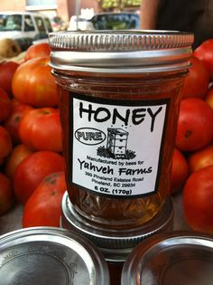 (Local honey at the Port Royal Farmers Market -  Photo by Susan Clark.) Beat the your pollen allergies with Local Honey!!! :D