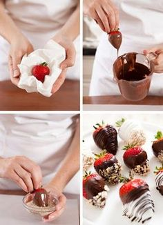 just in case you didn't know the tricks of chocolate covered strawberries: