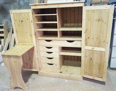 Ridgeway Craft Cupboard - Exmoor Furniture Larder Cupboard, Craft Cupboard, Craft Cabinet, Cupboard Storage, Storage Drawers, Sewing Cabinet, Cabinet Ideas, Craft Armoire, Kitchen Pantry