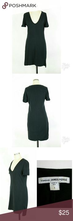 """James Perse v-neck t-shirt dress Size 1 (equals Small).  James Perse v-neck t-shirt dress in black. 100% supima cotton. Gently used with no flaws. Approximate measurements Bust 36"""" Length 34.5"""" Waist unstretched 32"""" Hips 35"""". James Perse Dresses"""