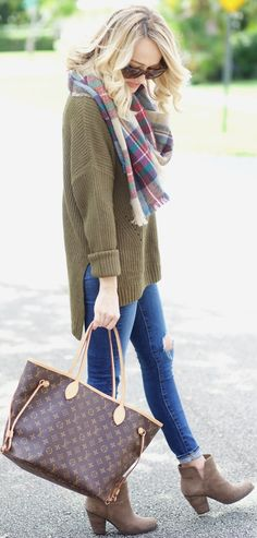 #fall #trending #outfits | Plaid + Olive + Denim