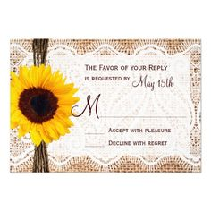 Rustic Burlap Lace Twine Sunflower Wedding RSVP Personalized Invite we are given they also recommend where is the best to buyHow toReview on the This website by click the button below...
