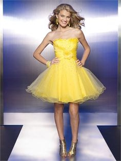 Strapless Ruched Bodice with Sequins Short Tulle Prom Dress PD11107 www.dresseshouse.co.uk $86.0000