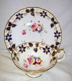 ANTIQUE 19thC H/PAINTED FLOWERS COLBALT BLUE & GOLD CUP & SAUCER RIDGWAY/ALCOCK?