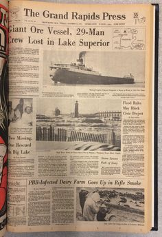 Newspaper reporting the sinking of the SS Edmund Fitzgerald Wisconsin, Michigan, Edmund Fitzgerald, Tanker Ship, The Fitz, Great Lakes Ships, Big Lake, Merchant Navy, Canadian History
