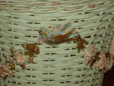 EXQUISITE OLD WICKER BASKET WASTEBASKET WITH BARBOLA GESS ROSES AND BIRDS | eBay