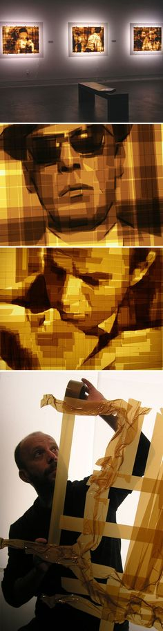 Ukrainian artist Mark Khaisman at work creating his unique art with brown packaging tape......