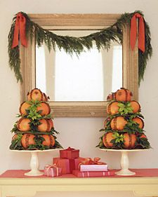 pomander pyramids - an oldie from Martha Stewart.  Pomander balls are one of my favorite Christmas decorations, and so fragrant.