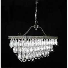 Crystal Glass Drop 3-Light Antique Copper Chandelier Idw, I just love this. Extreme reaction to this...Over an island?????