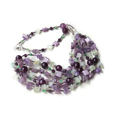 Long Multi Strand Mint Purple Lilac Necklace by ALFAdesigns