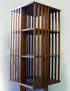 revolving teak bookcase