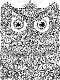 Coloring Book Pages Doodle Art Planners Life Hacks Owls Doodles Mandalas Feathers Owl Crayon Animaux Organizers Tips