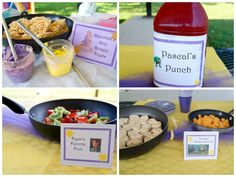 Rapunzel Party Food Idea; Pascal's Punch, Maximus' Apples, etc.  All served in frying pans.  Cute!