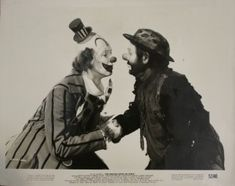 "Jimmy Stewart as a clown with Emmett Kelly, from Cecil B. DeMille's ""The Greatest Show on Earth."""