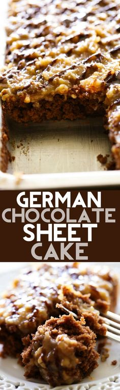 This German Chocolate Sheet Cake is so moist and SO delicious! The Coconut Pecan Frosting on top adds a richness and flavor that will blow you mind! This recipe is perfect for feeding a crowd! This German Chocolat 13 Desserts, Chocolate Desserts, Delicious Desserts, Dessert Recipes, Delicious Chocolate, Cake Chocolate, Chocolate Frosting, Baking Chocolate, Frosting Recipes