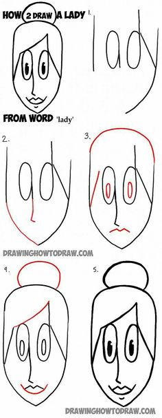 Kunst Zeichnungen - How to Draw a Woman or Lady from the Word Lady Simple Step by Step Tutorial for . Word Drawings, Doodle Drawings, Cartoon Drawings, Easy Drawings, Doodle Art, How To Draw Steps, Learn To Draw, Drawing Lessons, Art Lessons