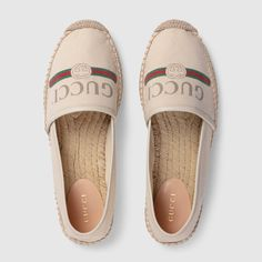 off-white canvas Gucci logo canvas espadrille Designer Espadrilles, Womens Espadrilles Wedges, Women's Espadrilles, Espadrille Shoes, Walk In My Shoes, Me Too Shoes, Gucci Logo, Gucci Gifts, Versace