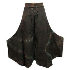 Boho Hippie Fold Waist Wide Leg Tie Dye Gaucho Cotton Pants - EK204