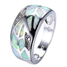 Unqiue CZ & White Fire Opal Wedding Ring Silver Plated Women's Jewelry Size 6-9