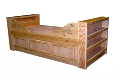 Oak Custom Crafted Twin Captains Bed with dinosaur trim. $950.00, via Etsy.